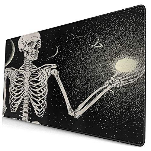 HUAYEXI Alfombrilla Gaming,Esqueleto de meditación de Yoga de Calavera Hippie con Espacio de Galaxia de Universo,con Base de Goma Antideslizante,750×400×3mm