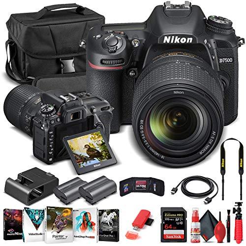 Nikon D7500 DSLR Camera with 18-140mm Lens (1582) + 64GB Memory Card + Case + Corel Photo Software + EN-EL 15 Battery + Card Reader + HDMI Cable + Cleaning Set + Flex Tripod + Memory Wallet (Renewed)