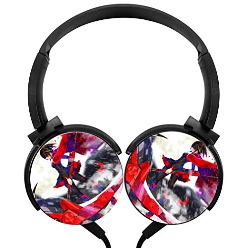 Stereo Gaming Headset Headset Wired Stereo Headphones Ruby Rose RWBY 2 Lightweight with Mic Over Ear, Cute Headsets for Smartphone and Tv 3.5Mm Black