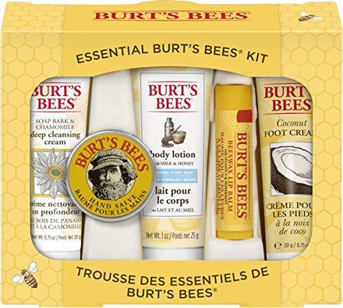 Burt\'s Bees Geschenkset, mit 5 Produkten in Reisegröße - Tiefwirksame Reinigungscreme, Handcreme, Bodylotion, Fußcreme und Lippenbalsam