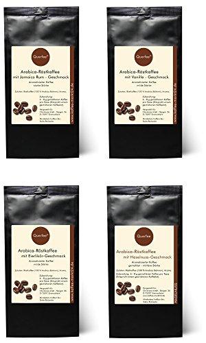 Kaffee Geschenk Set - 4 x Kaffee mit Geschmack als Probierset - Jamaica Rum, Vanille, Eierlikör, Haselnuss -Geschmack - Arabica Röstkaffee mit Aroma - gemahlen - 4 x 75 g (300 g insgesamt)