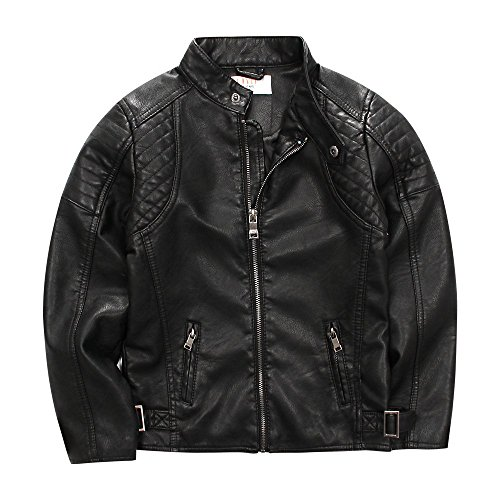 LJYH Childrens Trendy Stand-Collar Faux Leather Spring Moto Jacket for Boy 3-12years Black