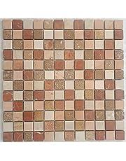 Marmer mozaïek mat rood beige Rosso Verona mozaïek tegels natuursteen 30x30 M667