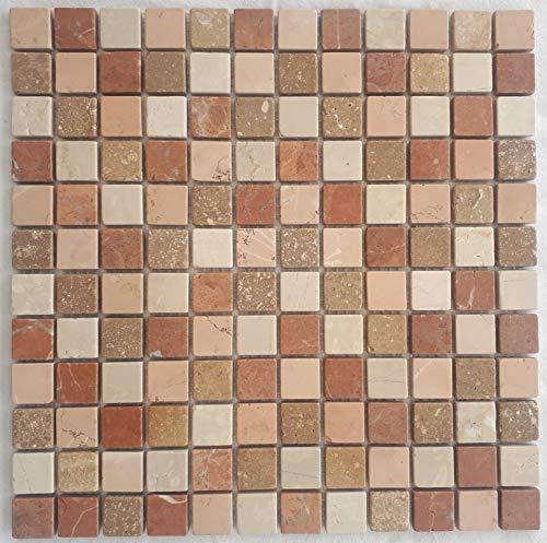 M667 - Piastrelle in marmo a mosaico, colore rosso, beige, rosso, verona, pietra naturale, 30 x 30 cm