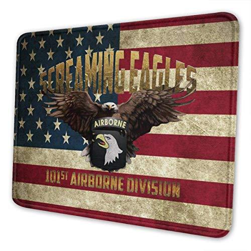 Alfombrilla de ratón para Gaming 101st Airborne Screaming Eagles Antideslizante con Base de Goma, 7.9 x 9.5 Pulgadas