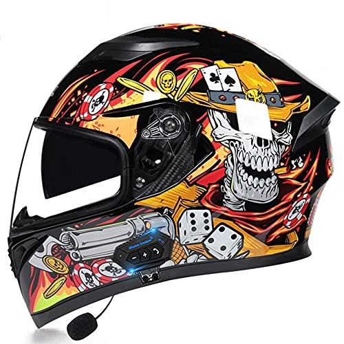 Bluetooth de la Motocicleta Casco,de Tipo Modular de Doble volteo Visera del Casco Completo,con Doble Visera para Hombres Y Mujeres Adultos,Certificación ECE Casco Moto Integrales