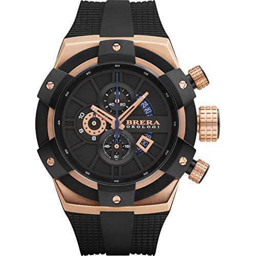 Brera Orologi SuperSportivo BRSSC4902 Black Dial SS Rubber Chronograph Quartz Men's Watch