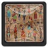 Square Art Vintage Etnico Tribale Donne africane antiche Stampe colorate Manopole con viti...