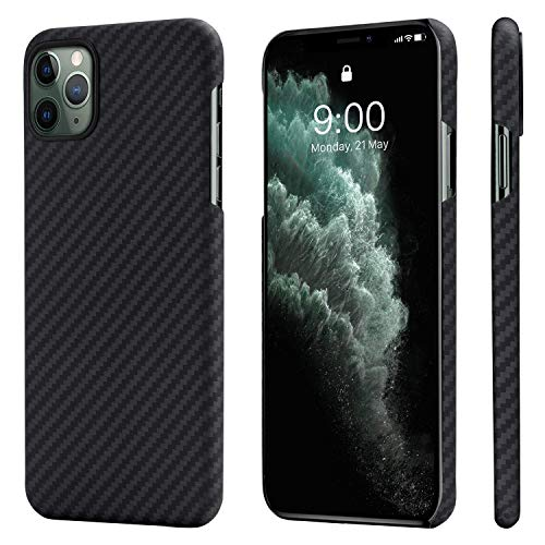 PITAKA iPhone 11 Pro Max Case for iPhone 11 Pro Max Phone Case Ultra Thin and Light MagEZ Case in Aramid Fiber Magnetic Design for Car Charger Rugged Hard Cover – Black/Grey Twill