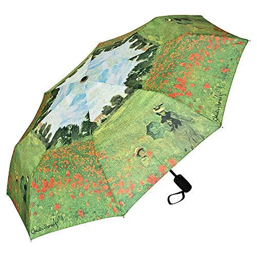 VON LILIENFELD Taschenschirm Regenschirm Claude Monet: Mohnblumenfeld Windfest Auf-Zu-Automatik Stabil Leicht Kompakt Kunst