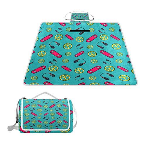 XINGAKA Picknickdecke,Fashion Seamless Comic Style Hintergrund Skateboard,Outdoor Stranddecke wasserdichte sanddichte tolle Picknick Matte