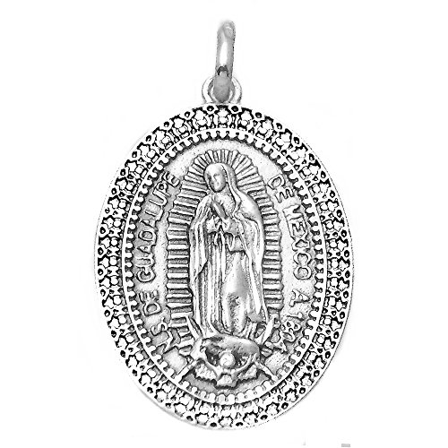 Medalla plata ley 925m Virgen Guadalupe México 29mm. ovalada [AA9808]