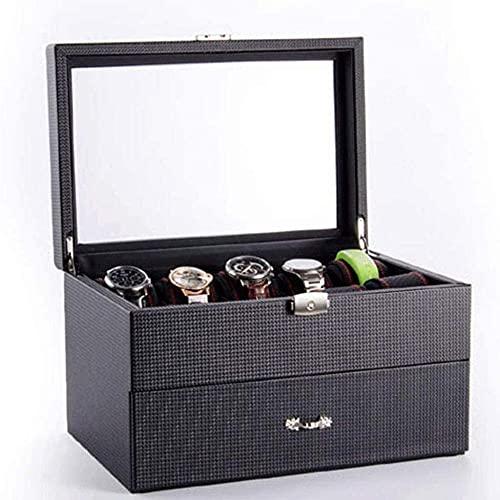 Bandeja ajustable de cristal real, diseño de fibra de carbono, 12 ranuras, caja de almacenamiento de reloj para hombres, color negro