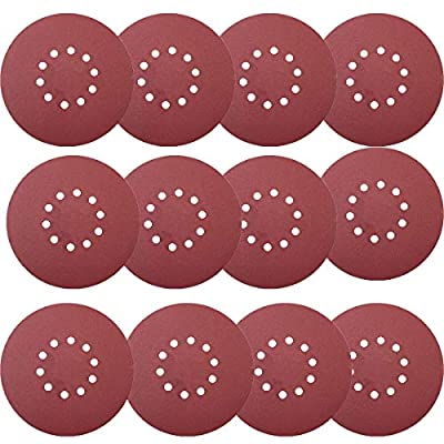 Tonmp 30 PCS 9-Inch 10-Hole Hook-and-Loop Sanding Discs 5 pcs Each of 80 100 120 180 240 400 Grits Sander Paper For Drywall Sander