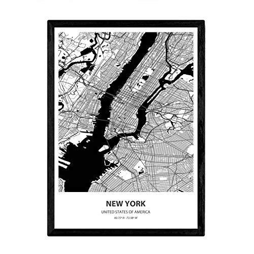 Nacnic Poster con Mapa de New York - USA. Láminas de Ciudades de Estados Unidos con Mares y ríos en Color Negro. Tamaño A3