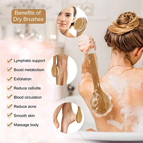 HMPLL Body Brush Set for Wet or Dry Brushing, Bath Body Scrub Brush Set with Long Handle, Natural Boar Bristle and Rubber Massage Nodules, Shower Brush for Exfoliating, Improve Lymphatic, Cellulite