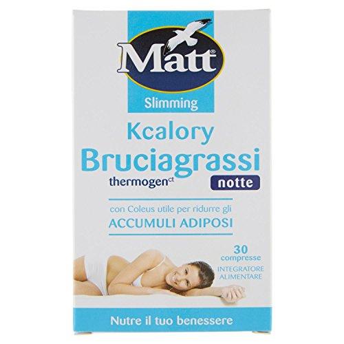 Matt Bruciagrassi Kcalory Thermogenct Notte Integratore Alimentare, 30 Compresse Brucia Grassi Rassodante Snellente, 10g