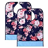 BTSKY 2 Pcs Waterproof Reusable Adult Bibs - Washable Mealtime Protector Bib Clothing Protector with Crumb...