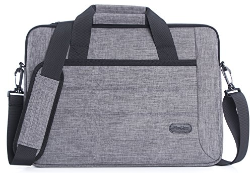 ProCase Laptop Schoudertas voor Laptop Ultrabook MacBook Pro Chromebook, Notebook Messenger tas tas Tote met handvat en riem 14-15.6 Inch Grijs