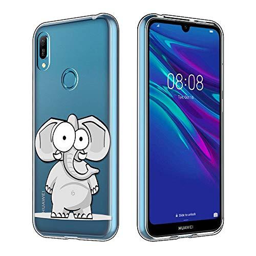 Yoedge Funda Huawei Y6 2019, Ultra Slim Cárcasa Silicona Transparente con Dibujos Animados Diseño Patrón 360 Bumper Case Cover para Huawei Y6 2019 Smartphone (Elefante)