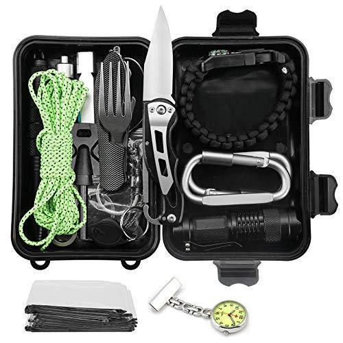 Gobesty Survival Kit, 20in1 Multifunktional Militär Survival Kit Professionelle Outdoor Kit mit Klappmesser Minitaschenlampe Paracord Tactical Pen Rettungsdecken für Camping Bushcraft Wandern Jagden
