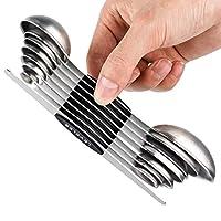 set di cucchiai dosatori magnetici in acciaio inox a doppia faccia cucchiaino per misurare ingredienti secchi e liquidi
