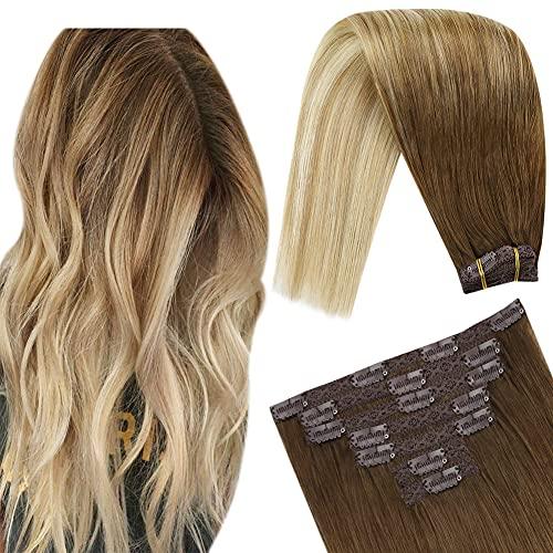 YoungSee 14 Pouces Extension a Clip Cheveux Humain Brun Moyen a Brun Cendre avec Blond Moyen #6/18/22 Rajout Cheveux Clip Extension a Clip Balayage Ch