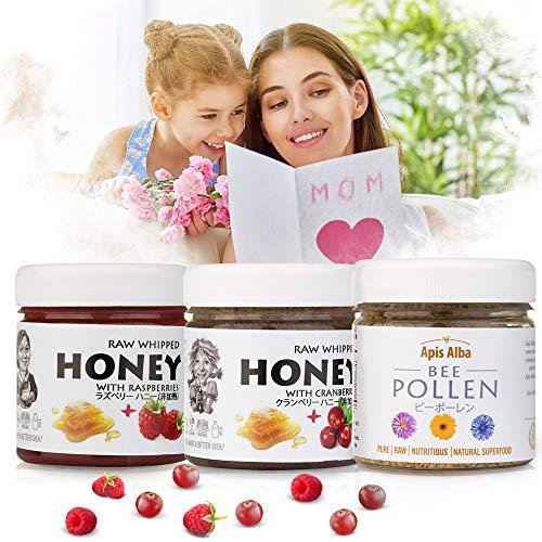 【Amazon.co.jp 限定】非加熱 無殺菌 ハニー セット品 ラズベリー生はちみつ / クランベリー生はちみつ / プレミアムビーポーレン花粉 ギフトセット 母の日セット Mother s Day Raw Honey Gift Set : Raw H