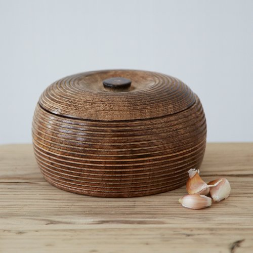 Paper High Medium Hand Carved Mango Wood Bowl with Lid | Fair Trade | Handmade | Sustainable Wooden Storage Bowls