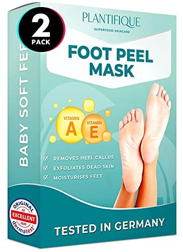 Fußmaske Vitamine Hornhaut Socken von Plantifique - Foot Peel Mask Hornhautentferner Socken - Wirksam bei Schwielen, Abgestorbener und Trockener Haut - Tief Rissige Fersen Reparat - 2 Paare