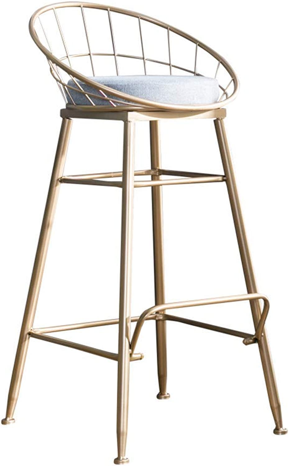 Iron Art Bar Desk European Simple Dining Chair Nordic Front Desk Fashion Chair, Lounge Chair Makeup Stool Small Backrest Wrought Iron Chair,gold,75cm