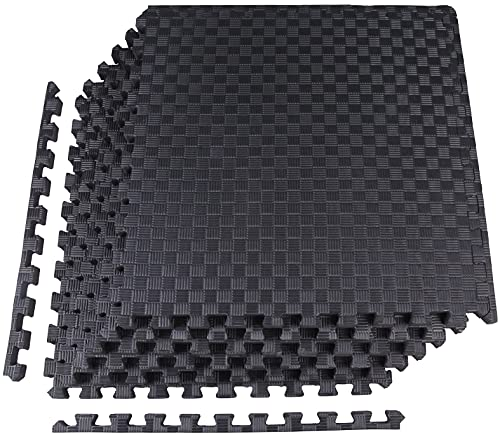 BalanceFrom 1' EXTRA Thick Puzzle Exercise Mat with EVA Foam Interlocking Tiles for MMA, Exercise, Gymnastics and Home Gym Protective Flooring (Black), 24 Square Feet