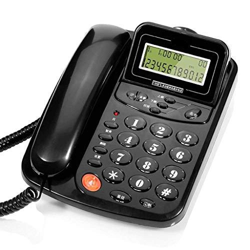 qwertyuio Teléfono Antiguo Teléfono Montado En La Pared Hogar Sentado Cable Oficina Teléfono Fijo Línea Fija (Color: Negro, Tamaño: L217Mm * W127Mm) (Color: Negro)