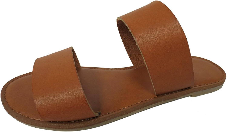 Cambridge Select Women's Open Toe Two Strap Slip-On Casual Flat Sandal