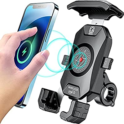 Kewig Waterproof Motorcycle Phone Mount with 15W Qi Wireless & 20W USB C Charger 2 in 1 Anti Shake Bike Motorcycle Phone Holder Install on Handlebar Mirror Bar Fast Charging for 4-7 Inch Cellphones from Kewig