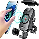KEWIG Motorcycle Phone Mount 15W Wireless & USB C 20W Fast Charger, Motorcycle Phone Holder with Aluminum Alloy Mount Base, Phone Mount for Motorcycle Fit 4'' - 7'' Cellphones
