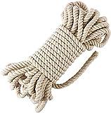Danolt Cuerda de Macramé de Algodón Natural 10m 10mm Cordón Algodón de Tres Hilos para Manualidades de Bricolaje Tejido Colgante Cesta Colgante de Planta Decoración Boho Beige