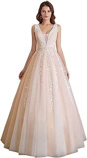 Women's Wedding Dress for Bride Lace Applique Evening Dress V Neck Straps Ball Gowns