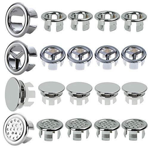 20 Stück Spülbecken-Überlauf-Abdeckung rund Waschbecken Überlauf Abdeckung Waschbecken Überlauf Ring für Badezimmer Küche