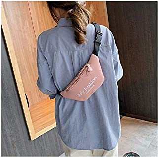 Fashion Single-Shoulder Bags Fashion PU Leather Single Shoulder Bag Chest Waist Bag Messenger Bag (Color : Pink)