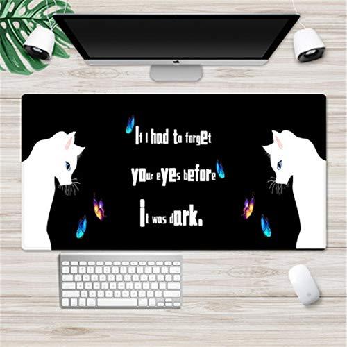 Gaming Mouse Mat XXL Comfortabele Grote Muis Pad Waterdichte Toetsenbord Mat met Antislip Base, gestikte randen, Glad Oppervlak voor Computer en Bureau, Kat En Vlinder, 800x300x2mm