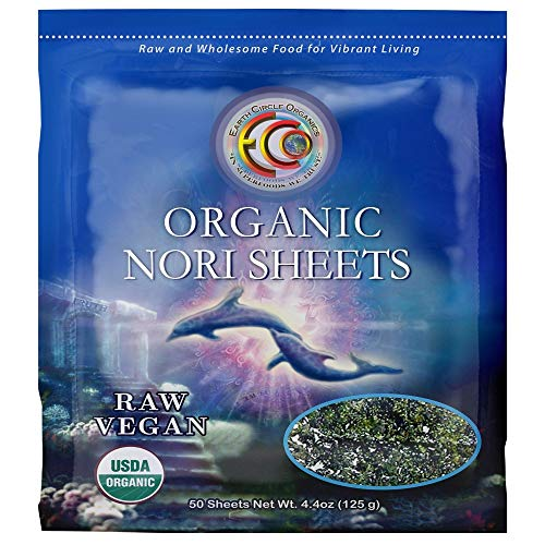 Earth Circle Organics | Raw Certified Organic Nori Seaweed | Grade 'A' Rating | Unheated & Not Roasted | Vegan | Paleo & Keto Friendly | Premium Quality Nori Sheets (50 Sheet)