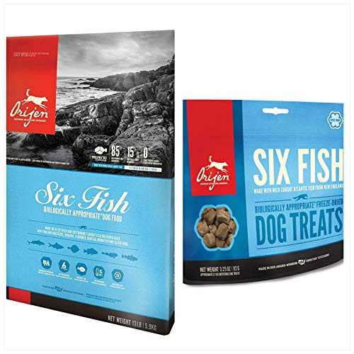 Orijen Dog Food & Treat Bundle. (1) Six Fish Dry Dog Food 13 lb Bag & (1) Six Fish Dog Treat 3.25 oz.