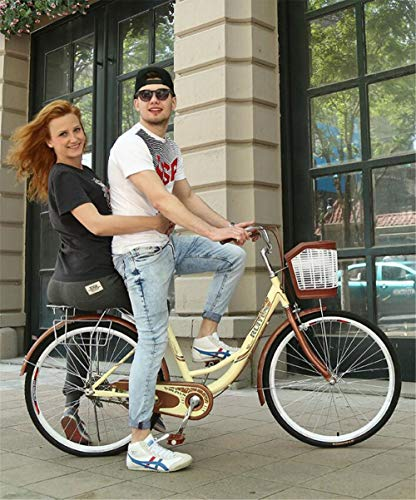 JHKGY Bicicleta De Crucero De Playa De Una Velocidad,Cuadro De Bicicleta De Acero Al Carbono,Bicicleta Clásica,con Cesta De La Compra,para Personas Mayores, Hombres Unisex,Beige,24 Inch