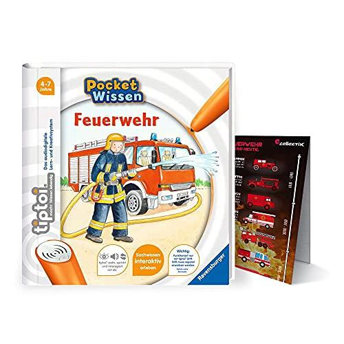 Collectix Ravensburger ® tiptoi Buch 4-7 Jahre | Pocket Wissen - Feuerwehr + Kinder Feuerwehr Fahrzeuge Poster | Pocketwissen, Tip TOI, unterwegs, klein