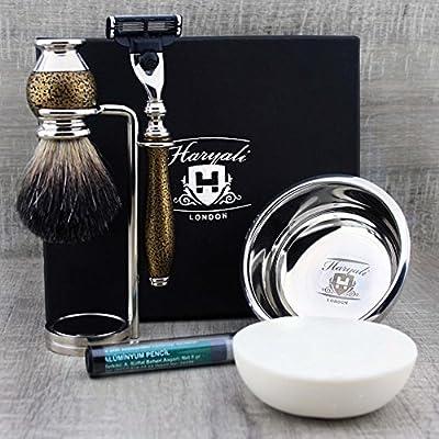 Haryali London 6Pc Mens Shaving Kit 3 Edge Razor, Black Badger Hair Brush, Bowl, Stand, Soap and Alum Perfect Set For Men