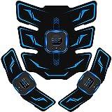 EMSIC EMS 腹筋ベルト 液晶表示 USB充電式 腹筋パッド 6種類モード 9段階強度 腹筋 腕筋 筋トレ器具 男女兼用 トレーニングマシーン ジェルシート10枚付き 日本語説明書付属 (ブルー)