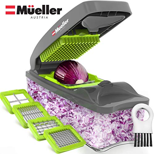 Mueller Chopper Multi-Blade Pro Series - Strongest - NO MORE TEARS 40% Heavier Duty Multi Vegetable-Fruit-Cheese-Onion Chopper-Dicer-Kitchen Cutter