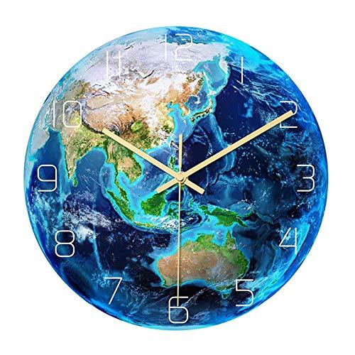 Tiamu Luminous - Reloj de pared con diseño de planeta impresa, reloj de trabajo, habitación, habitación, habitación, habitación, decoración para habitación infantil, habitación de bebé