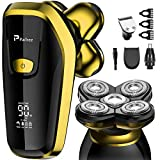 Electric Head Shaver for Bald Men, Paitree 100% IPX7 Waterproof Men's Electric Razor Bald Head Wet & Dry with Nose Hair Trimmer, Hair Clipper, Fast Charging 5D Rotary shavers for Men Cordless - Gold
